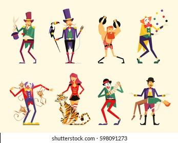 cartoon circus characters. circus performers set