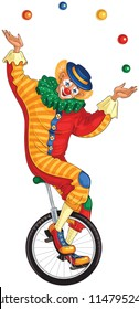 Cartoon circus clown juggling balls on unicycle. Also available coloring book version