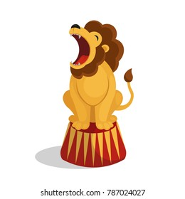 Cartoon circus lion. Vector illustration