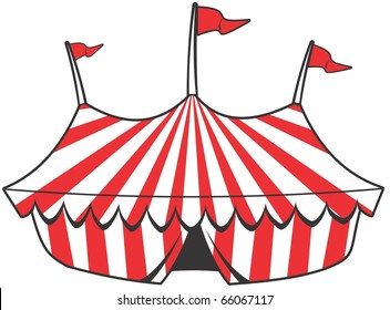 cartoon circus tent with stripes and flags isolated.  Ideal for carnival signs