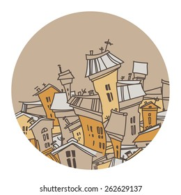 Cartoon city. Abstract image of houses. Vector illustration