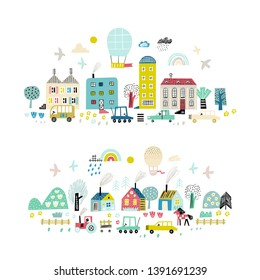 Cartoon city background. Cute village on the background of trees and clouds. Design for poster, card, bag and t-shirt, cover. Baby style.
