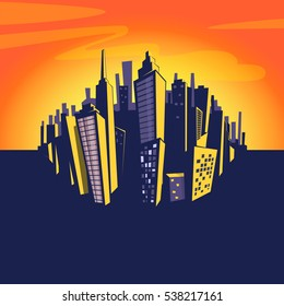 Cartoon city background. Vector illustration of cityscape