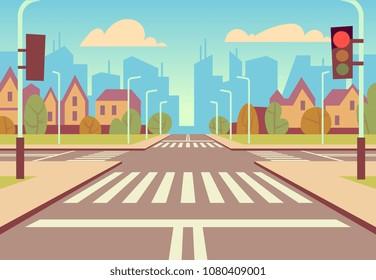 Cartoon city crossroads with traffic lights, sidewalk, crosswalk and urban landscape. Empty roads for car traffic vector illustration. Urban road city with crosswalk and sidewalk