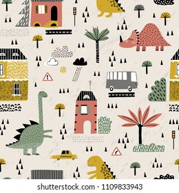 Cartoon city with dinosaurs playing in it. Childish vector illustration with skyscraper, dino, buildings and cars. Design for poster, card, bag and t-shirt. Monster in the city. Scandinavian style.