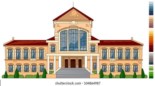 Cartoon city hall. Series of the cartoon buildings in vector.