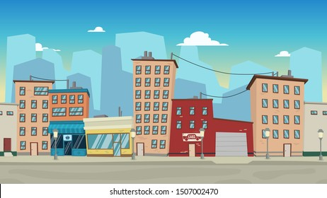 Cartoon city landscape with houses and darling for 2D game, websites and mobile phones, printing