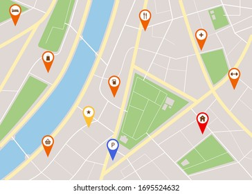 Cartoon City Map with Red Pins Concept for Ad Flyer and Banner Flat Design Style. Vector illustration