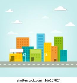 Cartoon city. Paper cut clipart image