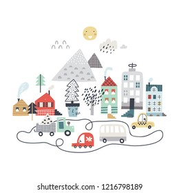 Cartoon city print. Childish vector illustration with mountains, buildings and cars. Design for poster, card, bag and t-shirt, cover. Pastel colors. Scandinavian style.