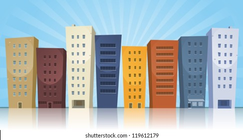 Cartoon Cityscape/ Illustration of a cartoon row of various cityscape buildings with reflection effect on the ground