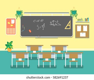 Cartoon Classroom Design Interior for School, College and University Flat Design Style. Vector illustration