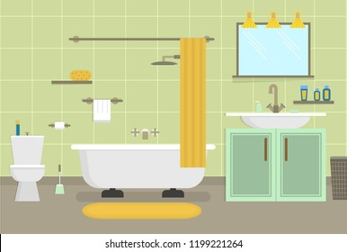 Cartoon Clean Bathroom for Cleaning Room Service Card Poster for Ad Housework Concept Flat Design Style. Vector illustration