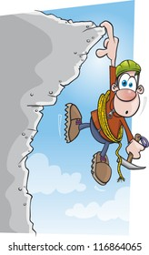 A cartoon climber is in trouble hanging from a cliff