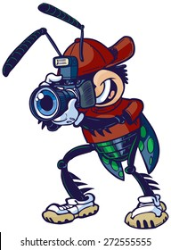 Cartoon clip art illustration of a shutter bug or insect mascot character holding a camera. Vector file has color on a separate layer for easy editing.