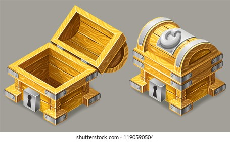Cartoon closed and opened wooden isometric chests with silver metal stripes and keyhole for computer game. Vector illustration on white background.