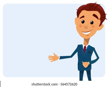 Cartoon close-up vector illustration businessman pointing to the lateral