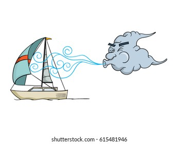 Cartoon cloud blowing wind into the sail of a sailboat