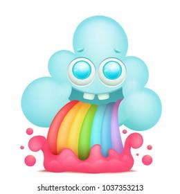 Cartoon cloud emoji character with rainbow vomiting. Vector illustration