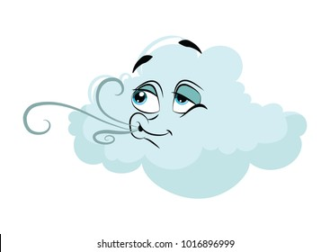 Cartoon cloud with a face. Vector illustration for a weather forecast. Cloud with emotions. Drawing for children.