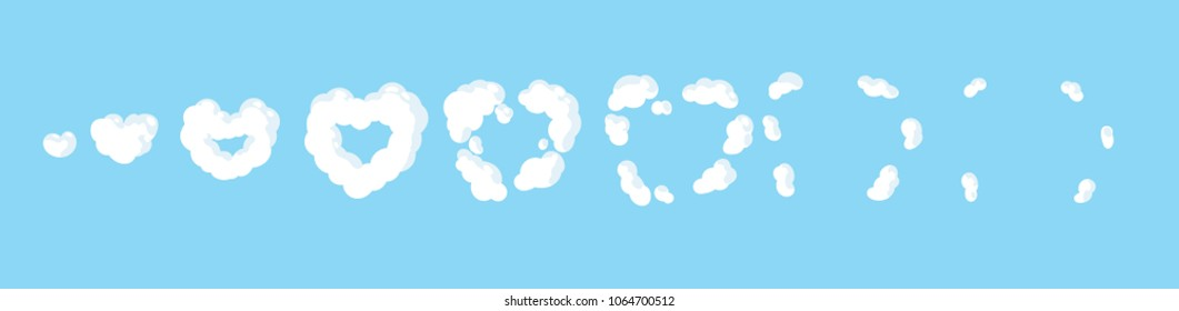 Cartoon cloud heart explosion. Smoke animation. Animation for game or cartoon.