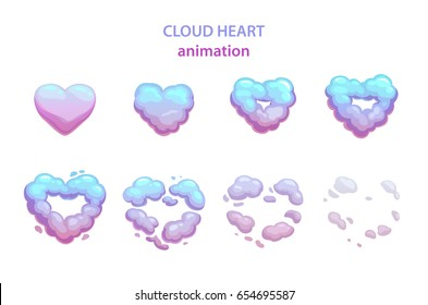 Cartoon cloud heart explosion. Vector smoke frames for flash animation.
