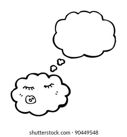 cartoon cloud with thought bubble