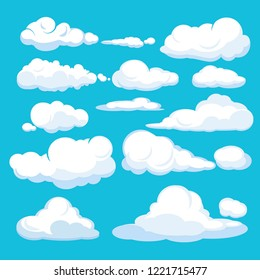 Cartoon clouds. Blue sky aerial cloudscape blue clouds different forms and shapes vector illustrations. White cloud fluffy in air sky, different cloudscape soar