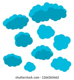 Cartoon clouds in flat style isolated on white background. Vector illustration.