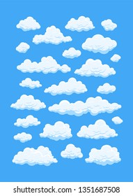 Cartoon clouds isolated on blue background. Cumulus and fluffy eddy in blue sky. Hand drawn sketch. Cloudscape 2d vector illustrations.