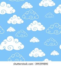 Cartoon clouds seamless pattern