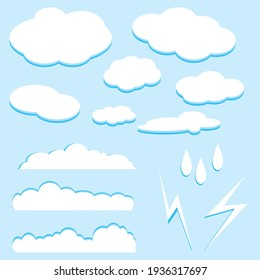 Cartoon clouds set. Design elements.
