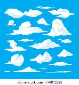 Cartoon Clouds Set On Blue Sky Background. Vector illustration design.