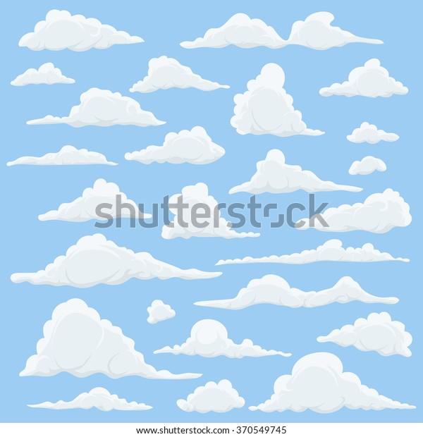 Vetor Stock De Clouds Dos Desenhos Animados Definido No Livre De