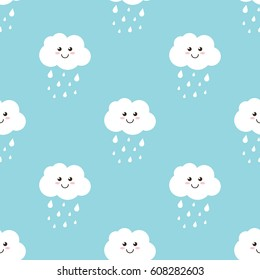 Cartoon clouds with water drops, rain seamless pattern background.