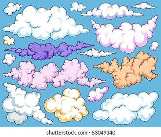 Cartoon Clouds-Clip-Art Color