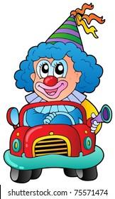 Cartoon clown driving car - vector illustration.
