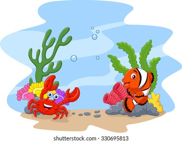 Cartoon clown fish and crab with corral and anemone background