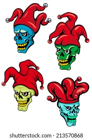 Cartoon clown or joker skull with hat, bells and eyes. For Halloween, t-shirt  and tattoo design