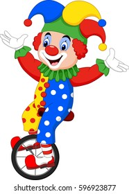 Cartoon clown riding one wheel bike