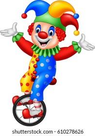 Cartoon clown riding one wheel bike