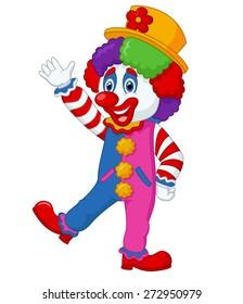 Cartoon clown waving hand