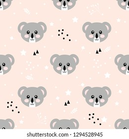 Cartoon coala seamless pattern