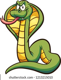 Cartoon cobra with tongue out.  Vector clip art illustration with simple gradients. All in a single layer.