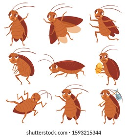 Cartoon cockroach mascot. Angry cockroaches, insect pests and bugs control characters vector illustration set. Funny brown beetles collection. Different adorable parasites, wildlife stickers pack