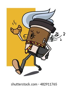 Cartoon coffee cup businessman character singing, taking croissant and portfolio. Take away coffee. Happy cup of coffee. Vector illustration