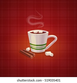 Cartoon coffee cup. Vector flat cartoon illustration. Christmas cup with cocoa and marshmallows. Christmas greeting card background poster. EPS 10. Cartoon style. Game icon