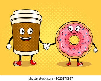 Cartoon coffee and donut holding hands pop art retro vector illustration. Cartoon character. Color background. Comic book style imitation.