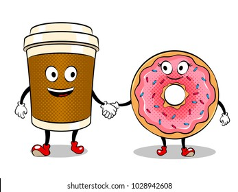 Cartoon coffee and donut holding hands pop art retro vector illustration. Cartoon character. Isolated image on white background. Comic book style imitation.