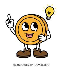 Cartoon Coin Character With Idea